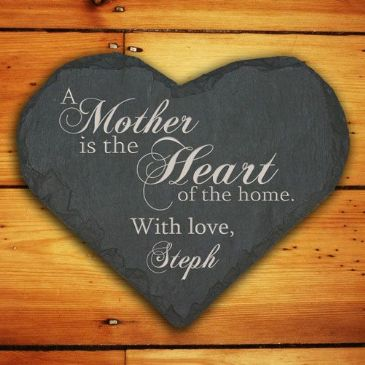 Personalised Mother Heart of the Home Slate Heart Keepsake
